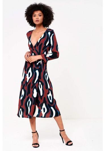Isla Wrap Midi Dress in Abstract Print ... d188e2fba