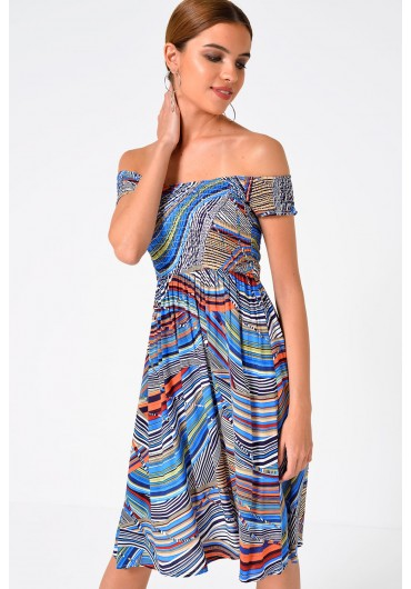 Sara Louise Off the Shoulder Dress in Multi Blue ... 8fc793a61