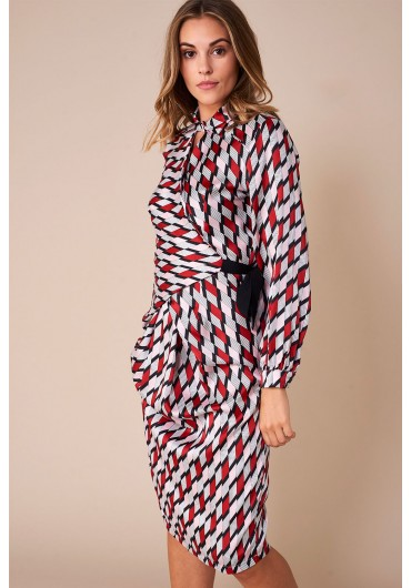 ... Donna Geo Print Wrap Dress in Red 111ab9a9e643