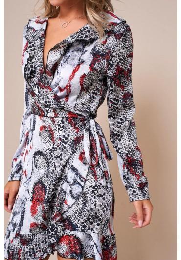 6492f4163c8 Kate Frill Wrap Dress in Snakeskin Print ...