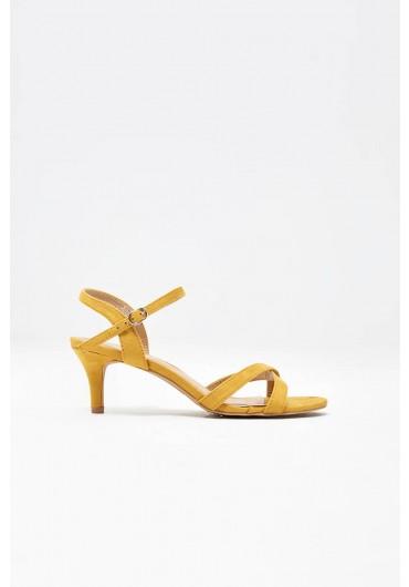 0c9f00f8cda8 Ami Kitten Heel Sandals in Yellow Suede ...