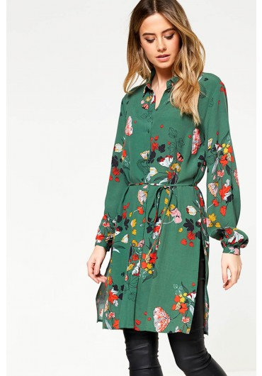 Mule Milja Long Sleeve Shirt Dress in Green Floral Print ... 388ae18addac
