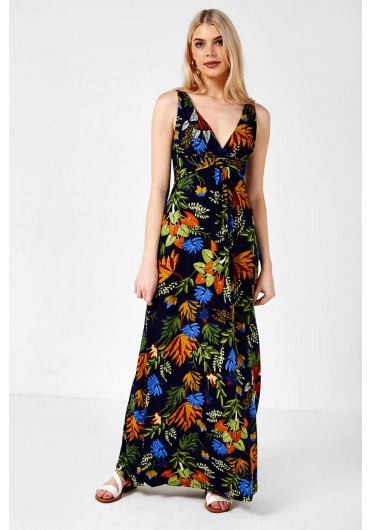 b4564dc67f54 Leaf Print Maxi Dress in Navy ...