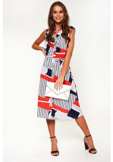 31a6e8aa4ca ... Abstract Print Dress in Navy and Red
