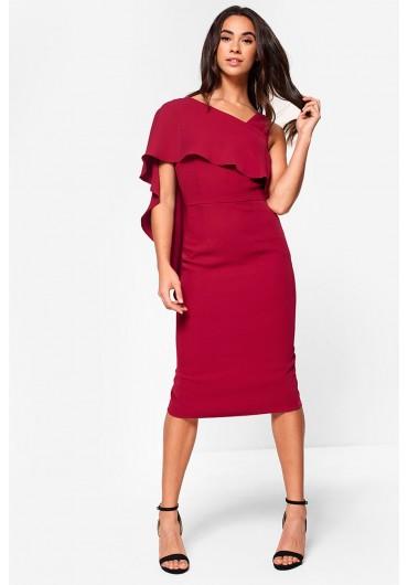 Lavish Alice Asymmetric D Midi Dress In Pink