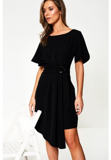 766b3424daef Asymmetric Belted Midi Dress in Black ...