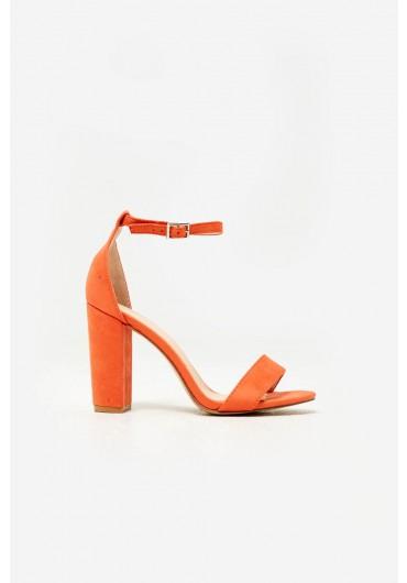 9845c15f914f Elena Block Heel Sandals in Orange Suede ...