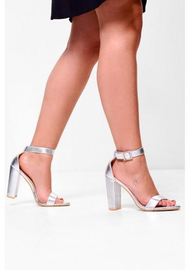 fa05444c2910 ... Samia Block Heeled Sandals in Metallic Silver