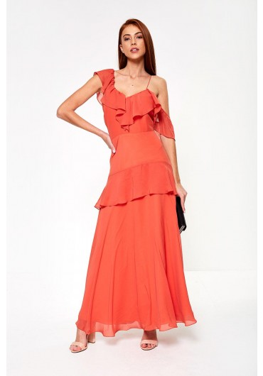 One Shoulder Mocha Bridesmaid Dresses
