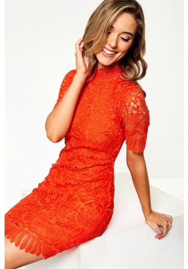 ce06d21a3a74 Diana Crochet Overlay Dress in Orange ...