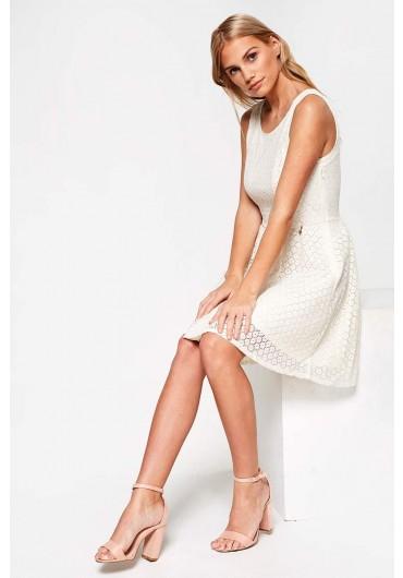 f24ae95a9fa ... Line Crochet Short Dress in Off White