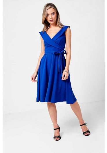 b3fcc4553497 Cross Over Dress with Pleated Skirt in Royal Blue ...