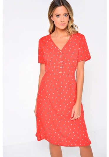 5c25b79b7 ... Cadence Printed Button Front Midi Dress in Red