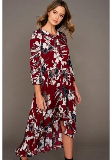 fcf347cba61 Ivory High Low Hem Midi Dress in Burgundy ...