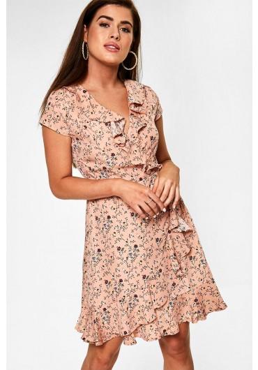 817a51a56db1 ... Floral Print Frill Wrap Dress in Blush