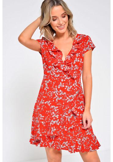 61a74ef641b1 ... July Ruffle Wrap Dress in Red