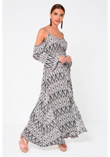 293cc2686575c1 Tracey Cold Shoulder Printed Maxi Dress Tracey Cold Shoulder Printed Maxi  Dress