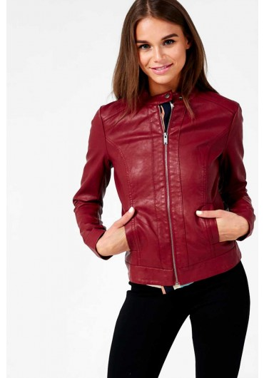 9d783e77a Dallas Faux Leather Jacket in Burgundy Dallas Faux Leather Jacket in  Burgundy