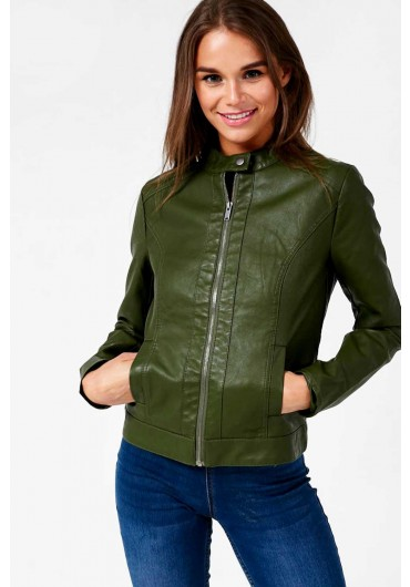 a9200375 ... Dallas Faux Leather Jacket in Dark Olive Green