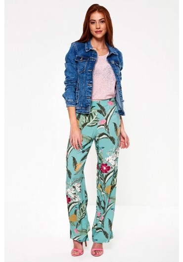 ee1037a0efcf11 ... Simply Floral Print Wide Leg Trousers in Mint