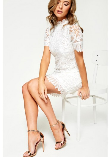 3a3211e7edf5 Diana Crochet Overlay Dress in White ...