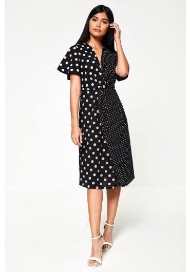 ffd2450b1929 Edina Dot Print Midi Dress in Black ...