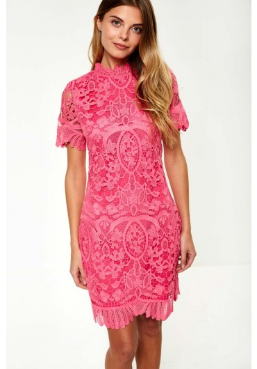 fd3e70654196 Diana Crochet Overlay Dress in Cerise ...