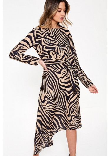 197bc5a86501 Norjin Midi Dress in Brown Zebra Print ...