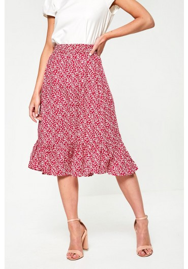 a084731346 Floral Print Midi Skirt in Pink ...