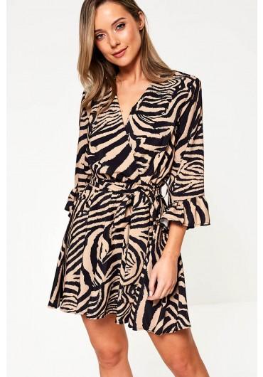 1737f4949c0 ... Zebra Print Wrap Dress in Brown
