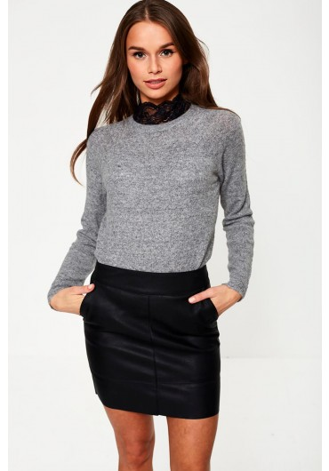 0b6f2c6d7a56 Sabelle Lace Detailed High Neck Jumper in Grey ...