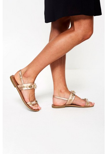 5997e1187723 ... Itzel Embellished Flat Sandal in Rose Gold
