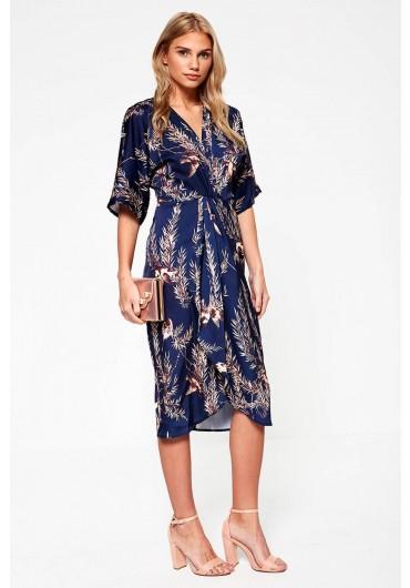 6c584c55675ae Kaori Feather Print Wrap Dress in Navy ...