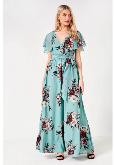 71372e17c0c8 ... Floral Flutter Sleeve Maxi Dress in Mint