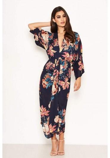 cad7fa0f897d Melvin Floral Kimono Sleeve Dress in Navy ...