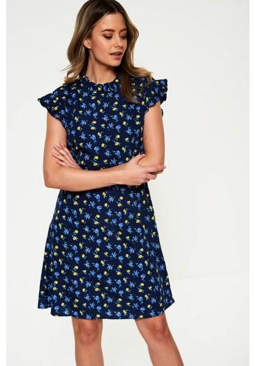 b46e85d90907 ... High Neck Floral Print Dress in Navy
