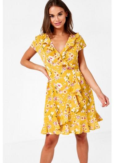280d429d85ed ... Floral Print Frill Wrap Dress in Mustard
