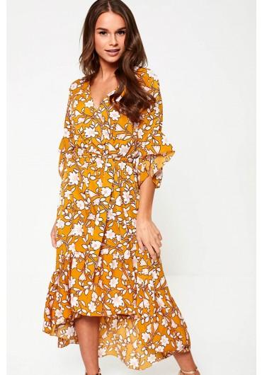 d97d3d2f80be ... Bonita Floral Print Midi Dress in Mustard