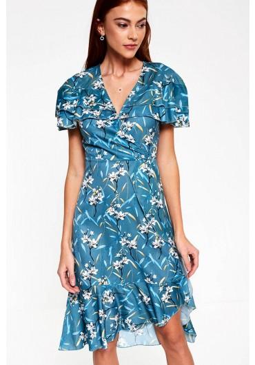 b034d4ffecf ... Jelena Floral Print Midi Dress in Teal