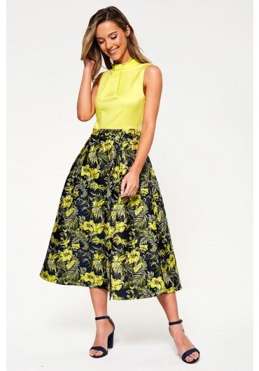 642e0d29f1 Kamran Floral Print Skater Dress in Navy ...