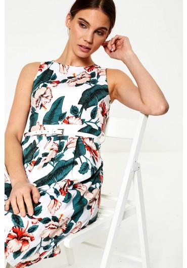 ... Maki Floral Print Skater Dress in White b7df63de1