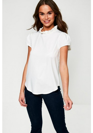 f96bc086 ... High Frill Neck Top in Off White