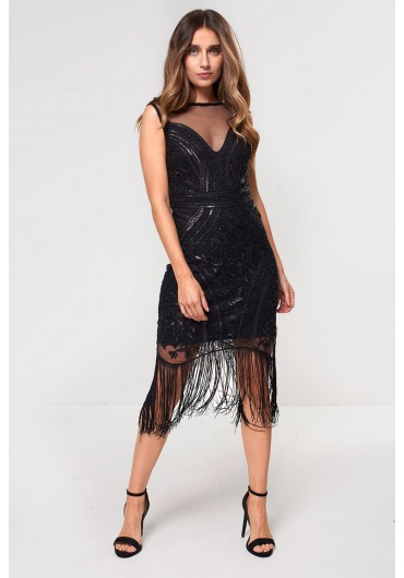 aa2ac05991 Jean Fringe and Sequin Dress in Black ...