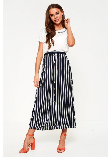 bb54db15d1 ... Button Front Ankle Skirt in Navy and White Stripe