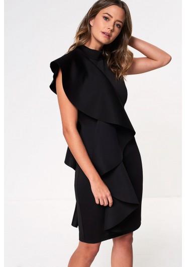 eaeee90de38 Chloe Scuba Frill Occasion Dress in Black ...