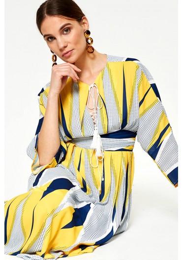 Donatella Geometric Maxi Dress in Yellow ... 436aadbff