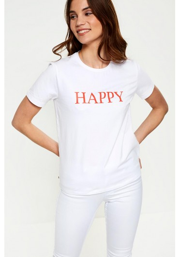 e6f4a15abbf9c ... Pandina Happy Slogan T-shirt in White