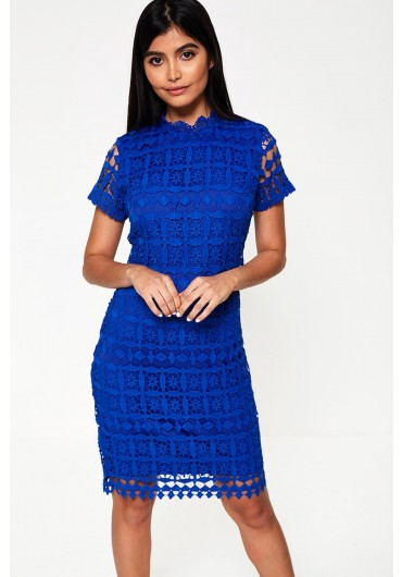9e0dab0278 Bowery High Neck Lace Pencil Dress in Royal Blue ...