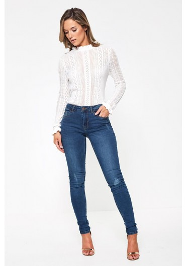 196acafa81 ... Betty High Waist Distressed Jeans in Dark Blue Wash
