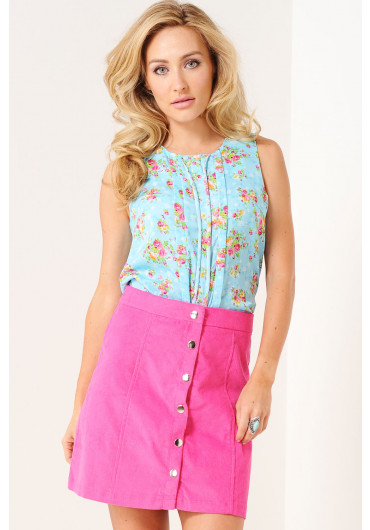8b21a632a0c Elin Floral Pleated Top in Blue ...